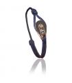 "Bracelet ""poulie"" acier / PVD or rose - cordon navy"
