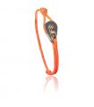 "Bracelet ""poulie"" acier / PVD or rose - cordon orange"