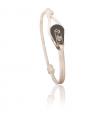 """Bracelet """"poulie"""" acier / PVD or rose - cordon blanc"""