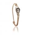 """Bracelet """"poulie"""" acier / PVD or rose - cordon ficelle"""
