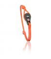 """Bracelet """"poulie"""" acier / PVD noir - cordon orange"""