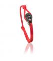 """Bracelet """"poulie"""" acier / PVD noir - cordon rouge"""