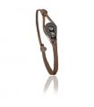 """Bracelet """"poulie"""" acier / PVD noir - cordon chocolat"""
