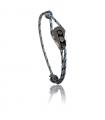 """Bracelet """"poulie"""" acier / PVD noir - cordon """"camo"""" bleu"""