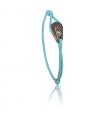 """Bracelet """"poulie"""" acier / PVD or rose - cordon turquoise"""