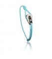"""Bracelet """"poulie"""" acier brossé - cordon turquoise"""
