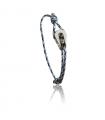 """Bracelet """"poulie"""" acier brossé - cordon """"camo"""" bleu"""