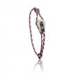 """Bracelet """"poulie"""" acier brossé - cordon """"camo"""" bleu/rouge"""