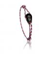 """Bracelet """"poulie"""" PVD noir / acier - cordon """"camo"""" bleu/rouge"""