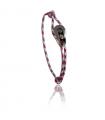 """Bracelet """"poulie"""" acier / PVD noir - cordon """"camo"""" bleu / rouge"""