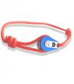 "Bracelet ""poulie"" PVD bleu / acier - cordon orange"