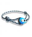 """Bracelet """"poulie"""" PVD bleu / acier - cordon """"camo"""" bleu"""