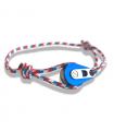 """Bracelet """"poulie"""" PVD bleu / acier - cordon """"camo"""" bleu/rouge"""