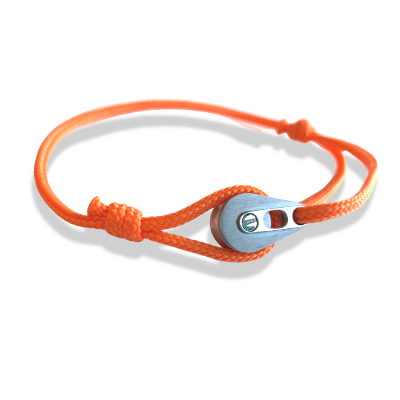 Bracelet XS acier, cordon orange